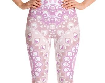 Pink Leggings High Waist Yoga Pants, Women's Printed Leggings, Cute Mandala Leggings