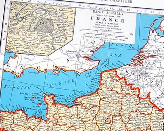 France, The Netherlands and Belgium Map - 1942 Vintage Book Page - Old Map from World Atlas 2 Sided