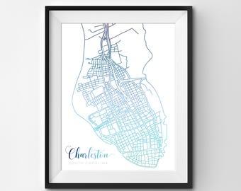 Charleston Map | Blue | Charleston | Charleston Print | Charleston Poster | Charleston Art | Charleston SC | South Carolina | Map | Map Art