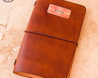 Leather Moleskine Cahier/Field Notes Notebook Cover with Copper Tag (Light Brown)