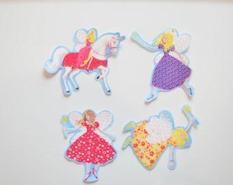 Set of 4 Fairy Appliques, Iron On No Sew Bond, Unicorn Princess Fairies, Patch, Pink Purple Yellow, Fairy Wand, Kingdom, Ready to Ship