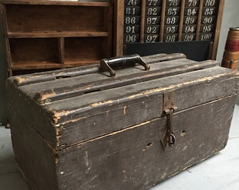 Tool box, chest, wooden, folk art