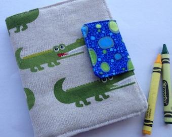 Mini crayon art folio, art folder, crayon case crayon holder kids artist gift travel art kit colouring book case crocodile alligator art kit