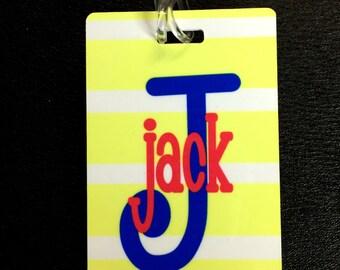 Personalized Kids Tag - Monogrammed Luggage Tag - Custom Tag - Kids Bag Tag - Diaper Bag Tag - Backpack Tag - Custom Personalized Bag Tag