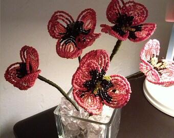 Original arrangement, bouquet of poppies 5 beads in a vase. Immortal flowers. Decoration. 21 cm/14. GIFT