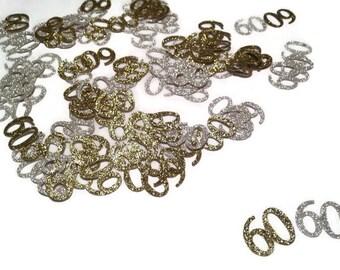 100 pieces, Happy 60th birthday table confetti,  glitter pieces ,30th, 40th, 50th, 70th, 80th, 90th, 100th, table confetti