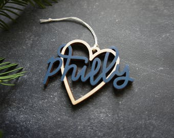 Philly Heart Christmas Ornament - Choose your color! | Christmas Ornament | Housewarming Gift | Christmas Gift | Philly Heart | Philadelphia