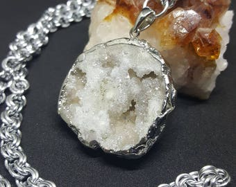 White Druzy Silver Electroplated Pendant