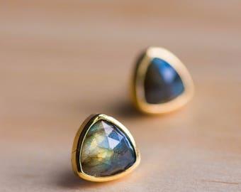 Labradorite Stud Earrings,Labradorite Jewelry,Stone Studs,Labradorite studs,Gemstone Earrings,Stud Earrings,Bezel Natural Stone Posts,Studs