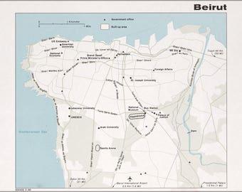 Beirut map Etsy