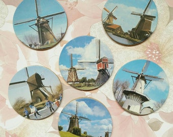 Vintage drink coasters, drink coasters, drink ware, dutch drink coasters, windmill drink coasters, round coasters, boho, retro, kitchen ware