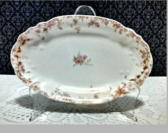 Antique Celery Plate, Charles Field Haviland CFH GDM, Limoges Porcelain, Relish Dish, Pink Floral Pattern, Circa 1890s