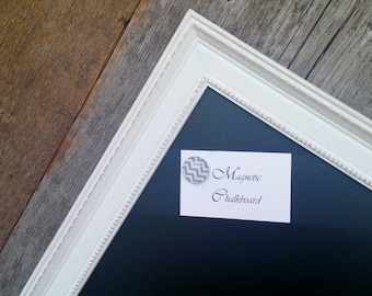 "LARGE Framed Magnetic Chalkboard Distressed White Vintage Style Frame - 23 x 35"" Large Magnetic Chalkboard"