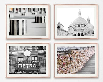 Bedroom Decor For Her // Gallery Wall Decor // Set of 4 Prints // Paris Photography Set // Travel Prints // Sacre Coeur // Love Lock Bridge