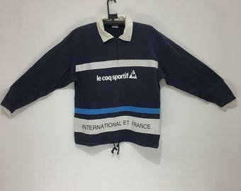 LE COQ SPORTIF international et france half zip sweatshirt big logo sweater sz m