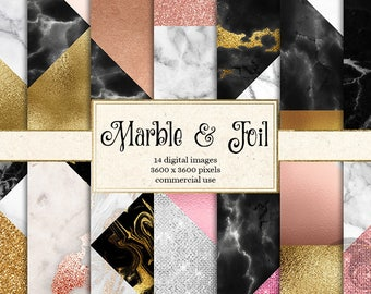 Marble and Foil Digital Paper, rose gold glitter, blush pink, luxury, geometric, triangles, chic modern scrapbooking, blog backgrounds