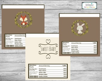 Woodland candy bar wrappers, woodland baby shower wrappers, chocolate bar wrappers, woodland baby shower decorations, printable wrappers