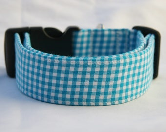 Mini Gingham Turquoise-White Adjustable Dog- Pet Collar-Pet Supplies Dog Collar- Small to Large Breed Dog- 5/8- 1 inch 1.5 -2 inch width