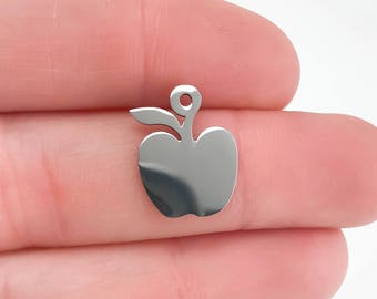 3 Pieces Stainless Steel Apple Charms,  Highly polished, No Tarnish, US Seller
