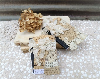 Shabby Chic Vintage Style Mini Micro Journal, Vintage Crochet, Cottage Style, Junk Journal, Set of 2