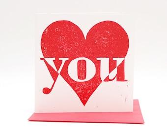 Letterpress card I Love You, Valentine card, hand printed woodcut