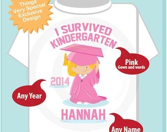 Personalized I Survived Kindergarten Shirt Kindergarten Graduate Shirt Child's Back To School Shirt or Onesie (03282013b)