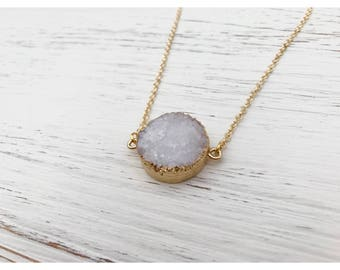 Round Druzy Crystal Pendant Necklace