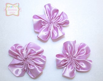 Lavender Satin Cluster Flower Ribbon Flower 3 Pieces