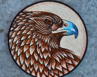 Eagle spirit guide patch sew on badge sacred animal totem bird of pray earthy American bird power material fabric jacket bag embellishment