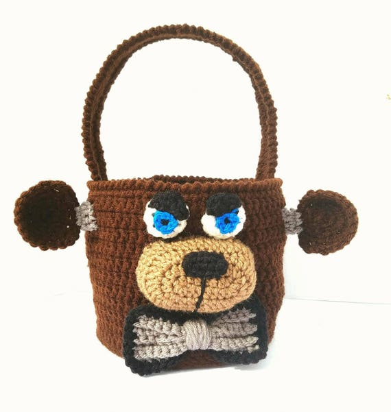 Freddy Fazbear, Freddy Fazbear Amigurumi, FNAF Amigurumi Bag Bin Basket, Five Nights at Freddys Bag Bin Basket Plush, Easter Basket