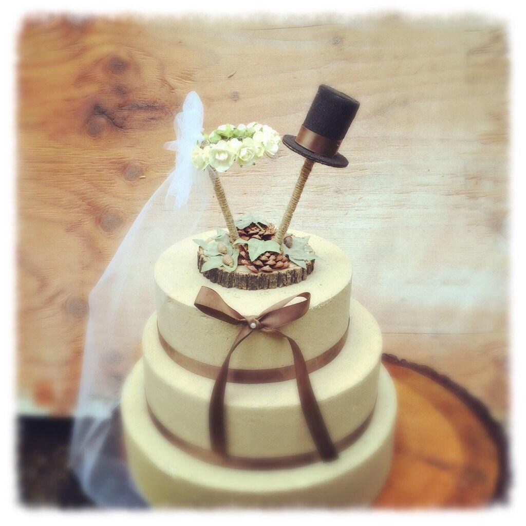 Unique wedding cake topper rustic cake topper pine cone zoom junglespirit Gallery
