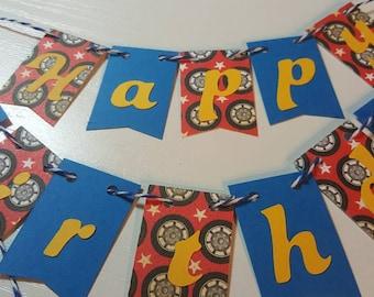 "Cake Bunting, ""Wheels"", Happy Birthday, Cake Topper, Paper Banner"