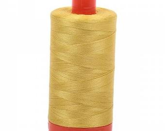 Gold Yellow Aurifil Mako Cotton Thread Color 5015, 50 wt, 1300m, 1 spool