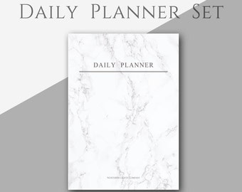 Printable Daily Planner Set, Minimalist Design   A4 & US Letter   Undated Daily, Weekly, Monthly Planners, Notes, To Do, Contacts, Passwords