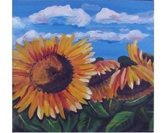 Sunflowers Blue Sky  Fun Colorful  Whimsical Folk Art Ceramic Tile