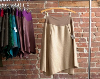 Sale Skirt, Womens Skirt, Camel Wool, Organic Bamboo Waistband, Asymmetrical, Long Skirt, Casual, Office Skirt, 2/4/6, Ready to Ship