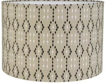 IKAT Latte  Geometric Style Cylinder / Drum Lampshades / Pendant Shade / Table