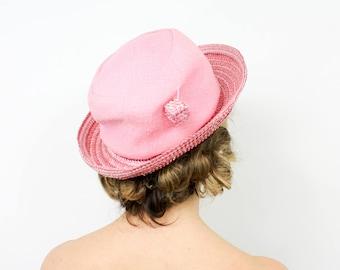 60s Pink Hat | Pink Linen & Straw Hat | ADOLFO II