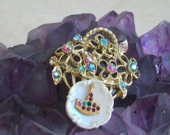 Vintage Masonic brooch, fraternal order, rhinestone, flower basket brooch, multi color, gold tone
