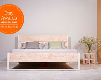 Bed made of recycled timber& steel LUBERON