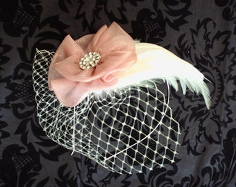 Pink Bridal Feather Fascinator, Bridesmaids, Ivory Feather Bridal Headband,  Floral Hair Accessory, Birdcage Veil, Weddings, Bridal Headband