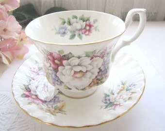 Vintage English Bone China Royal Albert Teacup and Saucer Summertime Series Sherborne from AllieEtCie