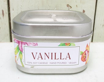 Very Vanilla Soy Candle 8 oz. - Green Daffodil - Handpoured - Siouxsan and Anne -C8