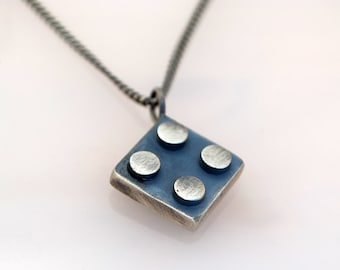 Brick Necklace-long necklace-Silver-Brick Pendant-Apocalyptic Jewelry-Burning Man-Mens Rough Jewelry-Lego Jewelry-MJ
