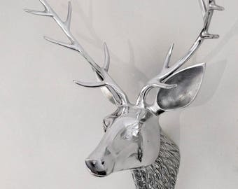 Metal Deer Antler Deer Head - Noble Wall Decoration - 30 cm