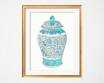 Turqouise Ginger Jar Print, Chinoiserie Wall Print, Turquoise Teal Wall Decor, Turquoise Vase Print, Light Blue Ginger Jar Print