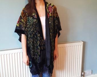 Velvet kimono, Kimono jacket, kimono, Boho kimono, Velvet, Boho, Velvet jacket, Kimono robe, Jacket, Kimono cardigan, Beaded kimono