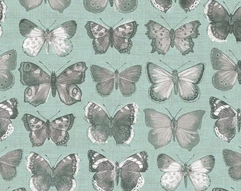 Vintage from Andover Fabrics - Antique Look Butterflies in Grays and White on Blue