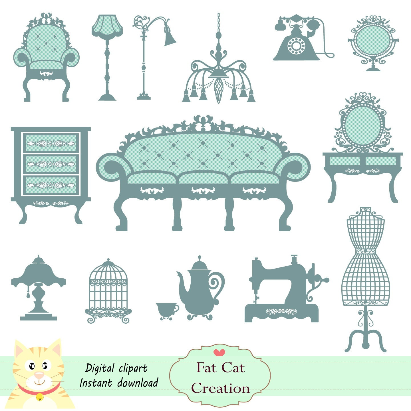 Vintage Furniture 2 colors digital clipart graphic