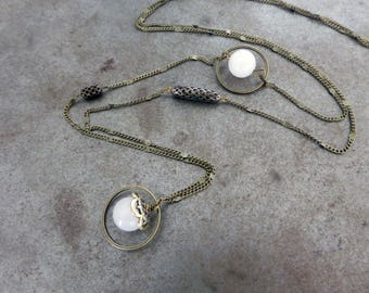 Long white dreamers, agate beads.
